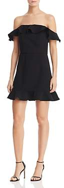 French Connection Whisper Light Flounced Square Neck A-Line Mini Dress