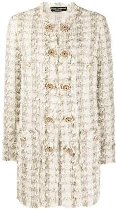 Dolce & Gabbana Tweed Buttoned Coat