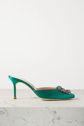 Manolo Blahnik Hangisimu Embellished Satin Mules - Green