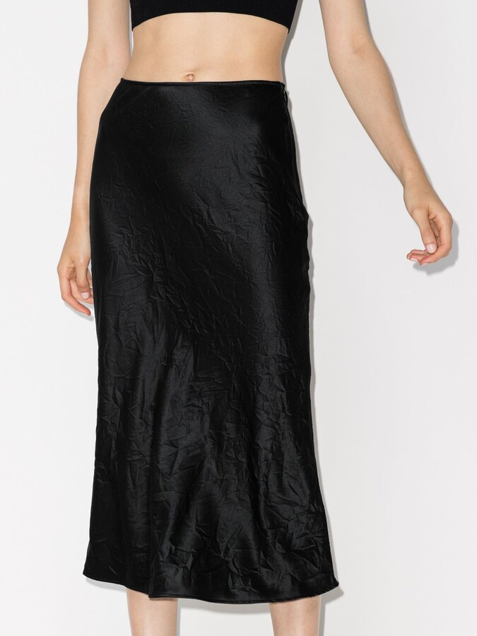 Thumbnail for your product : Ganni Black Crinkled Midi Skirt