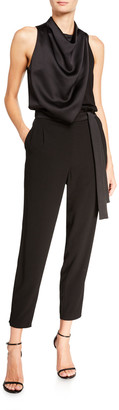 Halston Cowl-Neck Sleeveless Draped Bodice Stretch Crepe Jumpsuit