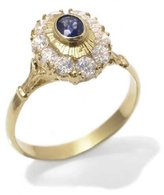Tatitoto Gioie Women's Ring in 18k Gold with Sapphire and White Cubic Zirconia, Size 8, 3.7 Grams