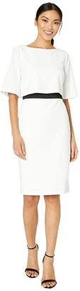 Adrianna Papell Knit Crepe Color-Block Pop Over Sheath Dress (Ivory/Black) Women's Dress