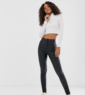 Noisy May Tall coated skinny jeans in black