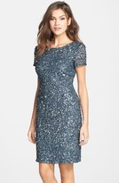 Adrianna Papell Sequin Mesh Sheath Dress (Regular & Petite)