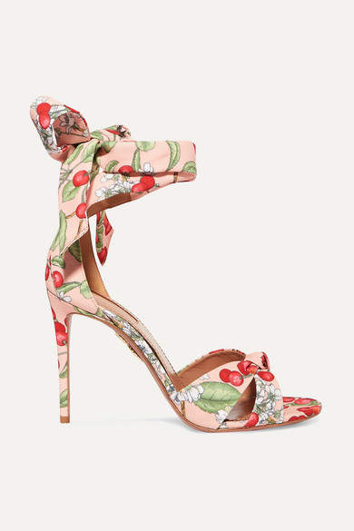 Aquazzura All Tied Up Printed Canvas Sandals - Pink
