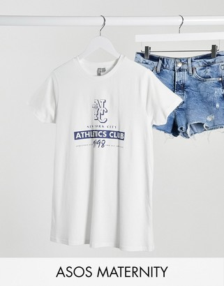 ASOS DESIGN Maternity t-shirt with NYC athletics club in gray marl