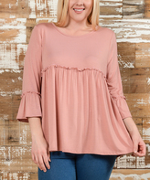 Bellino Mauve Bell-Sleeve Empire-Waist Top - Plus