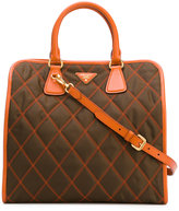 Prada double handles quilted tote