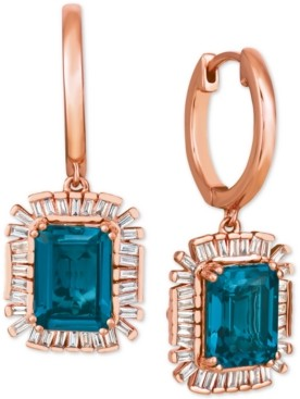 LeVian Le Vian Baguette Frenzy London Blue Topaz (3-1/2 ct. t.w.) & Diamond (1/4 ct. t.w.) Drop Earrings in 14k Rose Gold
