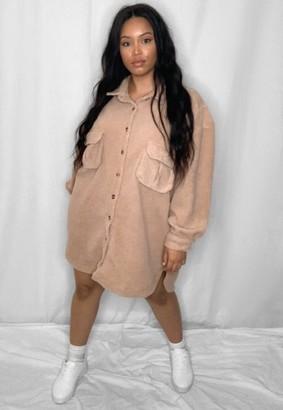 Missguided Stone Borg Teddy Oversized Shirt Dress