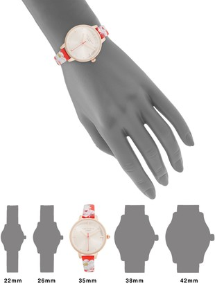Ted Baker Stainless Steel & Floral Leather-Strap Watch