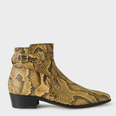 Paul Smith Women's Cream Snake-Effect Leather 'Dylan' Boots