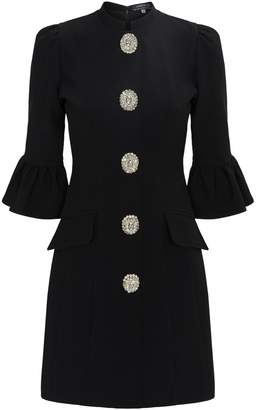 Andrew Gn Crystal Buttons Mini Dress