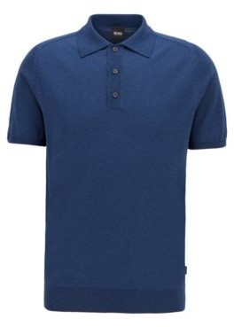 HUGO BOSS Short-sleeved knitted sweater with polo collar