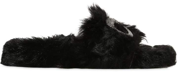 Chiara Ferragni 10mm Embellished Eye Lamb Fur Sandals