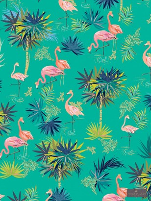 Sara Miller Flamingo Tea Towel, Green