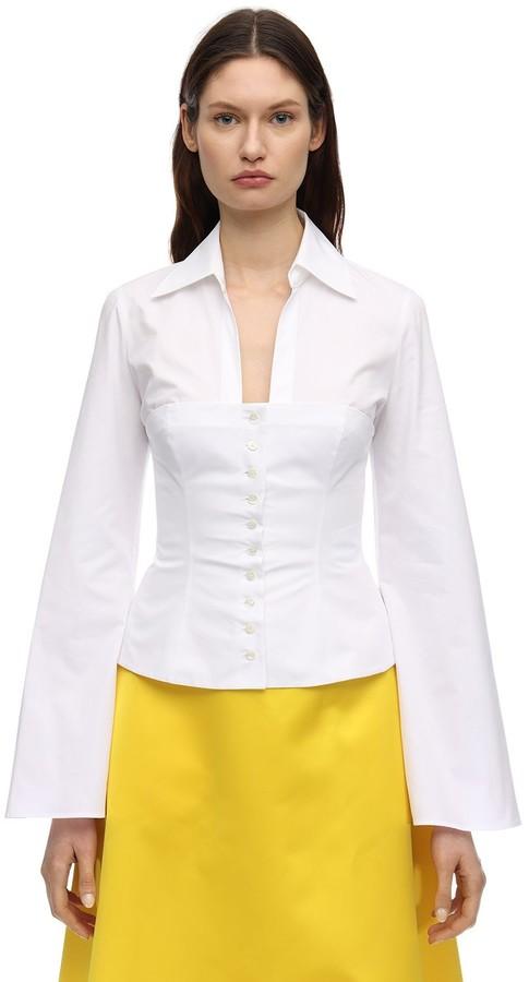 Sara Battaglia Bustier Cotton Poplin Shirt