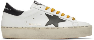 Golden Goose White and Green Hi Star Sneakers