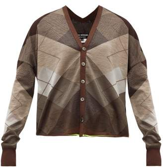Junya Watanabe V-back Argyle Wool-blend Cardigan - Womens - Brown