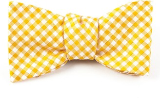 Tie Bar Checked Out Yellow Gold Bow Tie