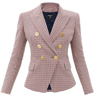 Balmain Double-breasted Houndstooth Wool Jacket - Red Multi