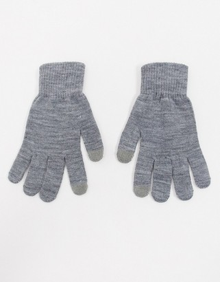 Glamorous gloves with touch screen in grey
