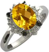 Gem Stone King 1.62 Ct Checkerboard Yellow Citrine and Black Diamond Sterling Silver Ring