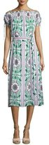 Tory Burch Asilomar Lace-Up Short-Sleeve Silk Dress