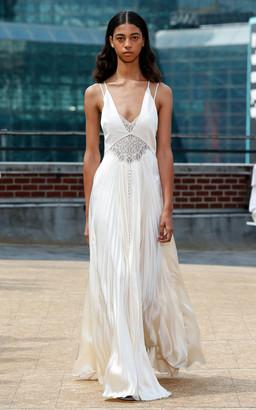 Jonathan Simkhai Kolbi Lace-Accented Pleated Maxi Dress