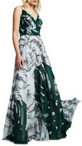 Kay Unger Leaf Printed Chiffon Gown