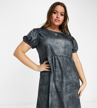 Street Collective Curve jersey tiered smock dress in washed charcoal