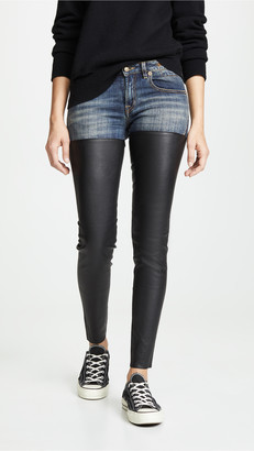 R 13 Leather Chap Jeans