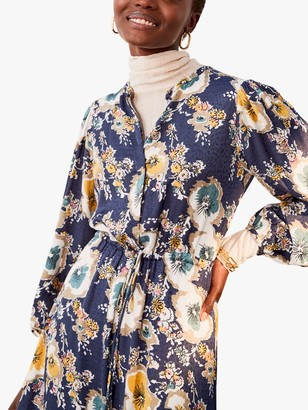Jigsaw Vintage Floral Dress, Navy