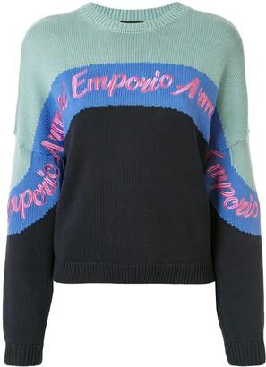 Emporio Armani Colour Block Knit Logo Embroidered Jumper