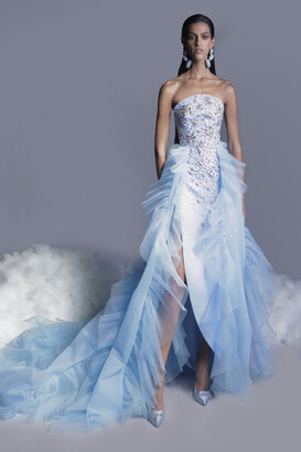 GEORGES HOBEIKA Beaded Crepe Gown with Overskirt