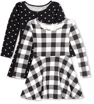 The Children's Place Baby and Toddler Girls Long Sleeve Dress, Pack of Two