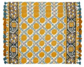 D'Ascoli Set Of Four Samarkand Linen-cotton Placemats - Blue Multi