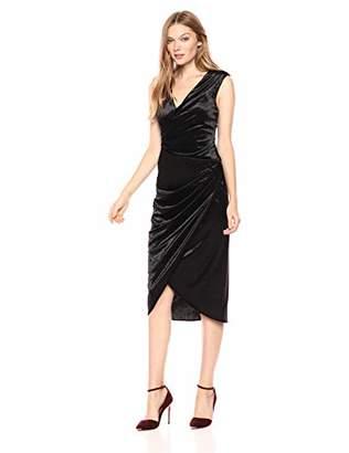 Adrianna Papell Women's Sleeveless Wrap Skirt Midi Length Stretch Velvet Cocktail Dress