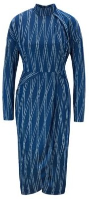 HUGO BOSS Long Sleeved Dress With Two Tone Jacquard Motif - Patterned