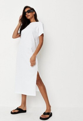 Missguided White Basic Midi T Shirt Dress