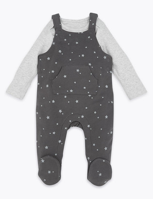 Marks and Spencer 2 Piece Patterned Dungarees Outfit (7lbs-12 Mths)