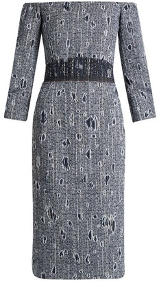 Carl Kapp - Jean Off-the-shoulder Boucle Dress - Blue White