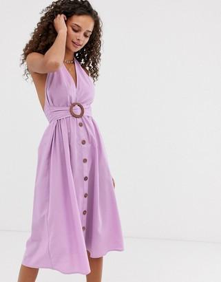 Asos Design DESIGN halter neck midi button through linen sundress with buckle-Purple