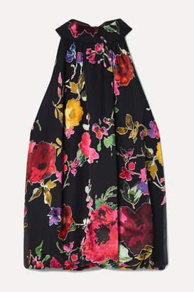 Alice + Olivia Alice Olivia - Maris Embroidered Flocked Chiffon Halterneck Top - Black