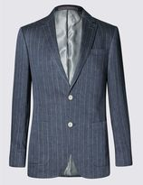 Marks and Spencer Navy Pure Linen Striped Tailored Fit Jacket