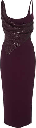Cushnie Sequin-Paneled Crepe De Chine Midi Dress