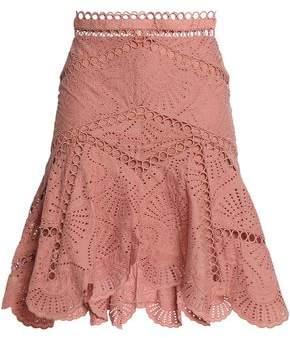 Zimmermann Fluted Broderie Anglaise Cotton Skirt