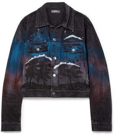 Amiri Printed Distressed Denim Jacket - Black