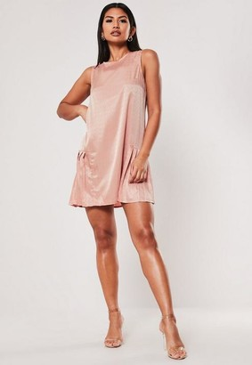 Missguided Blush Satin Pleated Hem Smock Dress